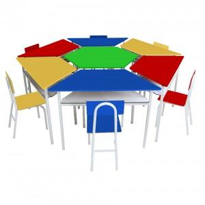 Mesas - Kit Sextavado Mesas Angulares Com 6 Cadeiras de Ferro