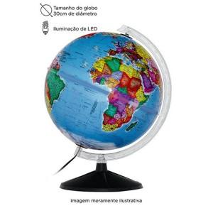 Globo Mapa Mundi Político com LED - 30cm